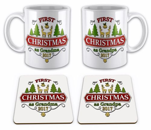 Set of 2017 First Christmas As... Funny Gift Mugs w/ Coasters